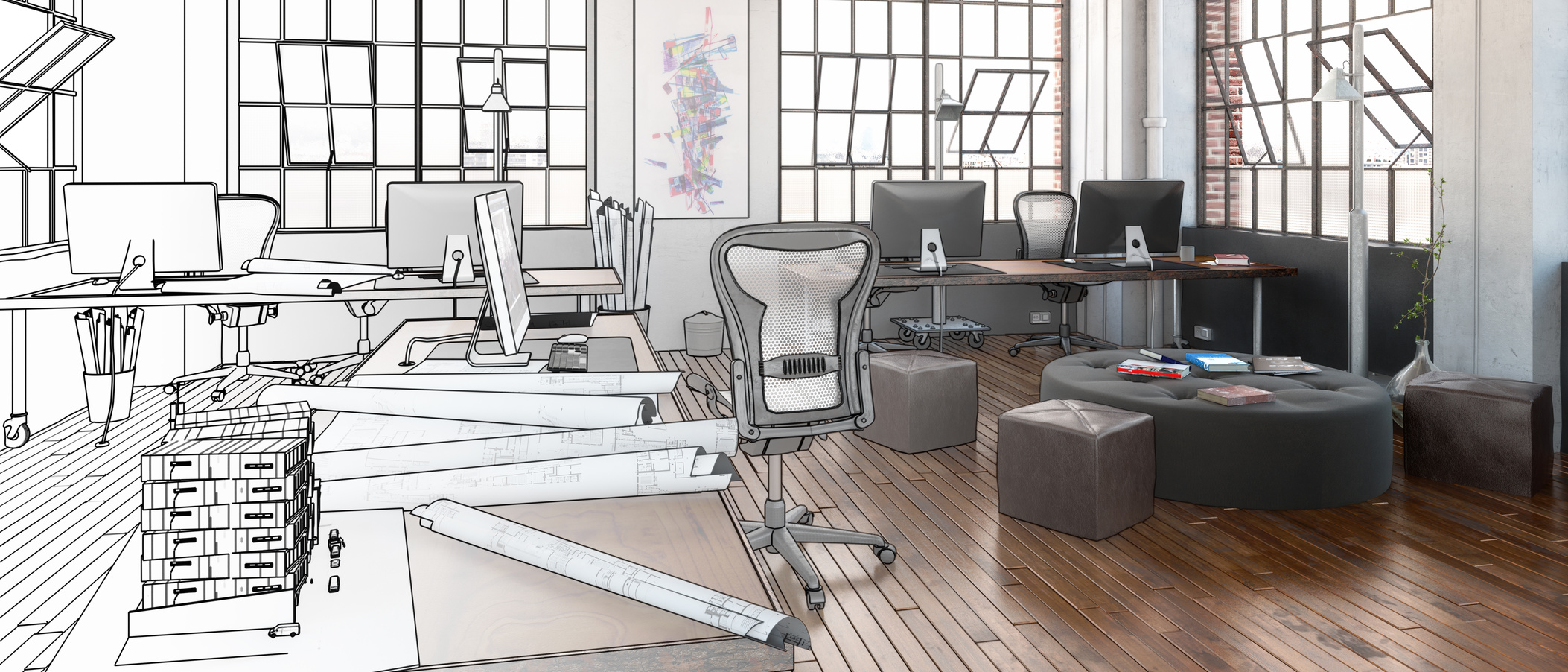 Postindustrial Office Design in Project (panoramic)